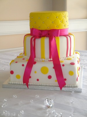 Pink & Yellow 3 Tiered Wedding cake