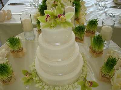 4 Tiered Wedding Cake with Cymbidiun Orchids